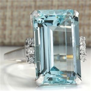 925 Silver Women ring Aquamarine size 5